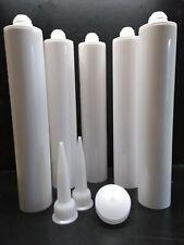 NEW 10 Pack - 400ml Empty White HDPE Caulking Mastic Tube  Cartridge Self Fill