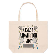 Crazy Badminton Lady Stars Large Beach Tote Bag - Funny Sport