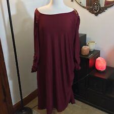 NWOT Woman's GODDESS Ruched Long Sleeve Form Fitting ZIPPER Dress 1X Burgundy