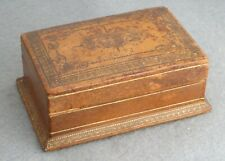 More details for vintage leather bound stamp box, in sound condition, length is 4.25 inches max.