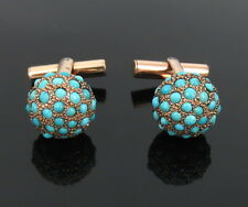 1940's Van Cleef & Arpels Natural Turquoise & 14K Rose Gold Ball Cufflinks
