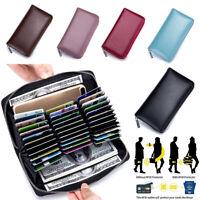 RFID Antimagnetic Genuine Leather 36 Card Slots Card Holder Long Wallet Purse