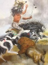 "oil paintings original Art. Native American. 24""x 30"" Canvas, Buffalo Hunt."