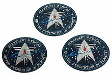 Star Trek Starfleet Medical UFP Embroidered Iron On Patch Set of 3 Patches