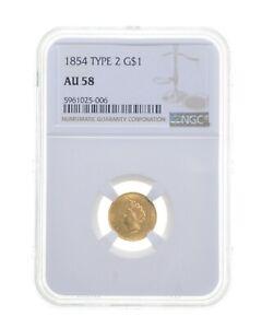 AU58 1854 $1 Indian Princess Head Gold Dollar - Type 2 - Graded NGC *4694