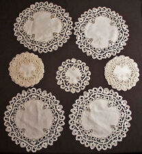 ANTIQUE ITALIAN CANTU LACE COCKTAIL COASTERS AND ROUND PLACEMATS HAND MADE