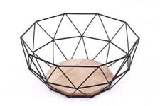 Geometric Metal Wire Fruit Bowl Storage Display Basket Wooden Decorative Black