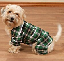 GREEN PLAID FLANNEL DOG PET PAJAMAS  SMALL