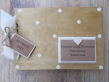 PERSONALISED NAMING DAY GUEST BOOK WOODEN SCRAPBOOK/PHOTO BOOK /MEMORIES