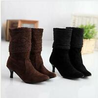 New Ladies Kitten Heel Faux suede Pull On Lace Cuffed Suede Shoes Ankle Boots sz