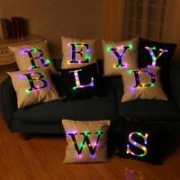 Alphabet Lighting LED Cushion Cover Room Decor Throw Pillow case Sofa Flashing C