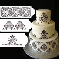 Damask 3 Piece Fondant Cake Decorating Lace Stencil Mould Border Icing Mold Tool