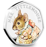 BU UNCIRCULATED Mrs. Tittlemouse 50p COIN 2018 COLOURED Decal Beatrix Potter