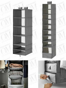 Wardrobe Storage With Compartment Grey Clothes Shoes Space Saving Organiser Unit