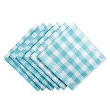 """Dii 100% Cotton, Oversized Basic Everyday 20x20"""" Napkin Set of 6, Aqua & White C"""
