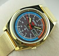 VINTAGE SEIKO 5 BROWN DIAL GOLDEN MENS AUTOMATIC JAPAN WORKING WRIST WATCH MN.