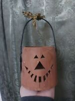 Vintage Halloween jol jack-o'-lantern wood luminaria candle fine neat decoration