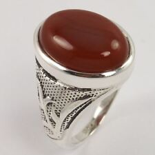 Solid 925 Sterling Silver Men's Ring Size US 9.5 Natural CARNELIAN Gemstone NEW