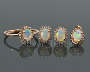 Natural Opal Cut 925 Solid Silver Pendent Ring Earring 14K Rose Gold Plated Set