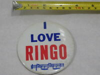 VINTAGE BEATLES I LOVE RINGO  PIN BACK BUTTON BADGE