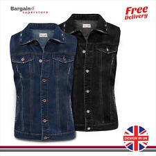 Mens Denim Sleeveless Trucker Jacket Stonewash Summer Casual Jeans Jacket Vest
