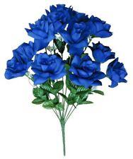 "Blue 12-Rose 20"" Bouquet Silk Flower Home Office Kitchen Patio Wedding Decor"