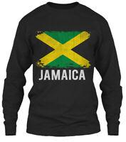Jamaica Jamaican Vintage Pride Funny Flag - Gildan Long Sleeve Tee T-Shirt