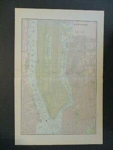 1901 NEW YORK CITY MAP CEMETERY MANHATTAN BROOKLYN LONG ISLAND ELLIS ISLAND
