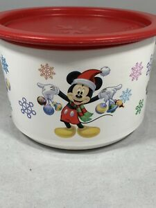 Vintage Tupperware Disney Mickey Minnie Mouse Christmas Bowl Lid 2 cup P1