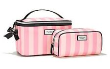 2 Victoria's Secret Hanging Travel Train Case & Cosmetic Striped, New Set.