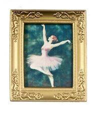 Bailarina de ballet en marco de oro, muñeca casa miniatura, decoración del hogar, imagen