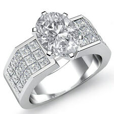 Forma Ovalada Diamante Reluciente Anillo de Compromiso GIA i VS2 14k Oro Blanco