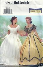 Butterick Sewing Pattern 6693 Southern Belle Costume Misses' Size 12 14 16 Uncut
