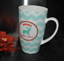 LATTE MUG MONTH ARIES  Zodiac Astrology Symbol Birthday March Apriel Porcelain
