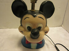 Vintage Mickey Mouse Chalk Table Lamp Chalkware Plaster Disney 19� tall