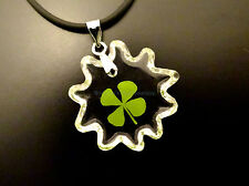 "Real four leaf clover pendant with cute sun shape cord 19"" with extension"