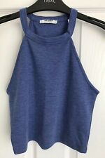 Ladies Blue ZARA Trafaluc Cropped Top - Size Small