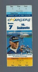 FRANCO HARRIS FINAL NFL GAME - VINTAGE 1984 SEAHAWKS @ CHARGERS FOOTBALL TICKET