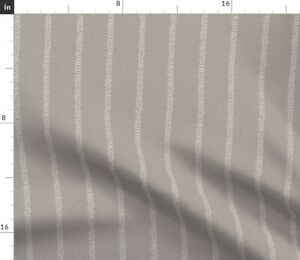 Gray Grey Beige Taupe White Stripe Farmhouse Spoonflower Fabric by the Yard