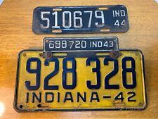 Antique Indiana License Plates 1942,43,44