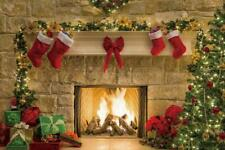 Christmas Fireplace Sparks 7x5ft Photography Backgrounds Vinyl Backdrops