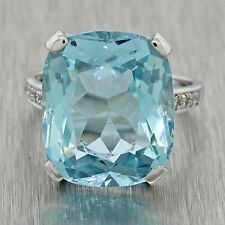 1950s Vintage 14k Solid White Gold Chunky Aquamarine .16ctw Diamond Ring