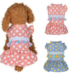 Soft Breathable Pet Dog Cat Skirt Vest Dress Cloth Dots Tassels Ruffle Pet Dress