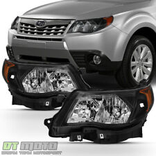 Black 2009-2013 Subaru Forester Headlights Headlamps w/ Bulb Halogen Model Only