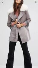 River Island Grey Faux Suede Faux Fur Collar Jacket Size 14 **sold Out***
