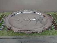 """Reed & Barton Tara Hall Silverplate Footed Meat Platter w/ Well 18.5"""" 1104"""