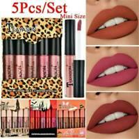5pcs Liquid Lipstick Lipgloss Makeup Tool Matte Velvet Lip Gloss Waterproof Kit