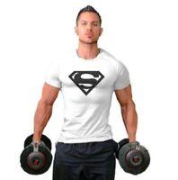 Men Superman Training Gym Fitness Cotton Sport Casual Bodybulding T-shirt Tee