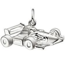 Anhänger Rennwagen 925 Sterling Silber matt mattiert Silberanhänger 47123