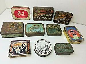 vintage collectable tobacco tins x 10 Afrikander / Navy Cut / Bulwark / Sobranie